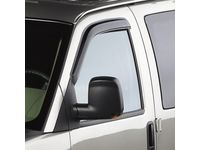 GMC Front Tape-On Window Weather Deflectors in Smoke Black with White GM Logo - 12370638
