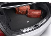 Cadillac Premium Carpeted Cargo Area Mat in Jet Black with Cadillac Logo - 23382745